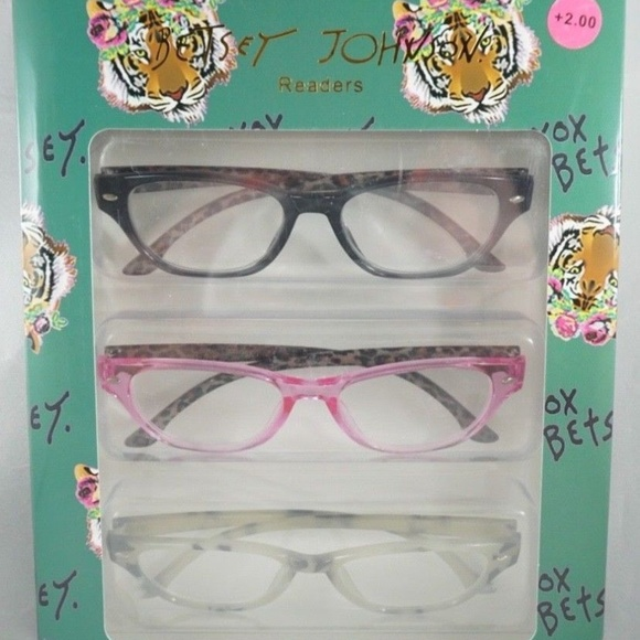 b811eb0612a6 Betsey Johnson Readers Reading Glasses +2.00 NEW